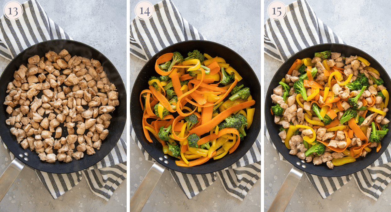picture collage demonstrating how to fry fry chicken breast and veggies separately when making stir-fry