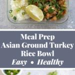 Asian Ground Turkey Rice Bowl Pinterest Graphic
