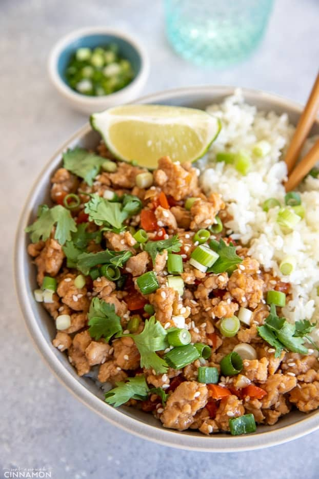 close-up of Asian Ground Turkey served with rice and sprinkled with scallions
