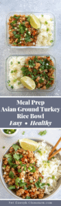 Asian Ground Turkey Rice Bowl Pinterest Graphic