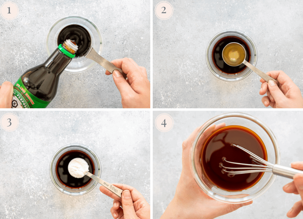 a 4 picture photo collage demonstrating how to make a quick Asian Stir-Fry Sauce for a Rice Bowl recipe