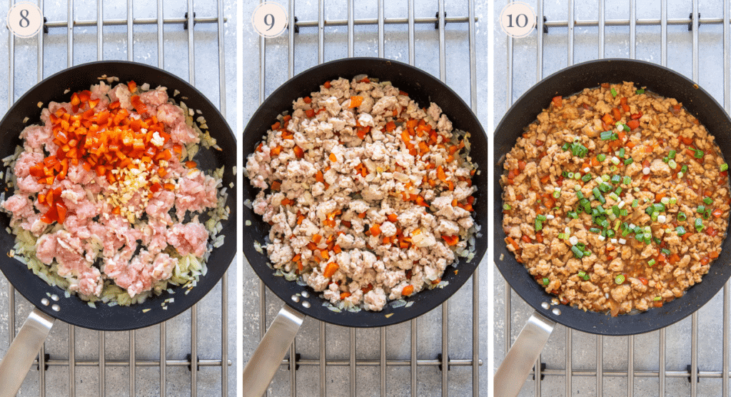 a photo collage demonstrating how to make Asian Ground Turkey for a rice bowl recipe