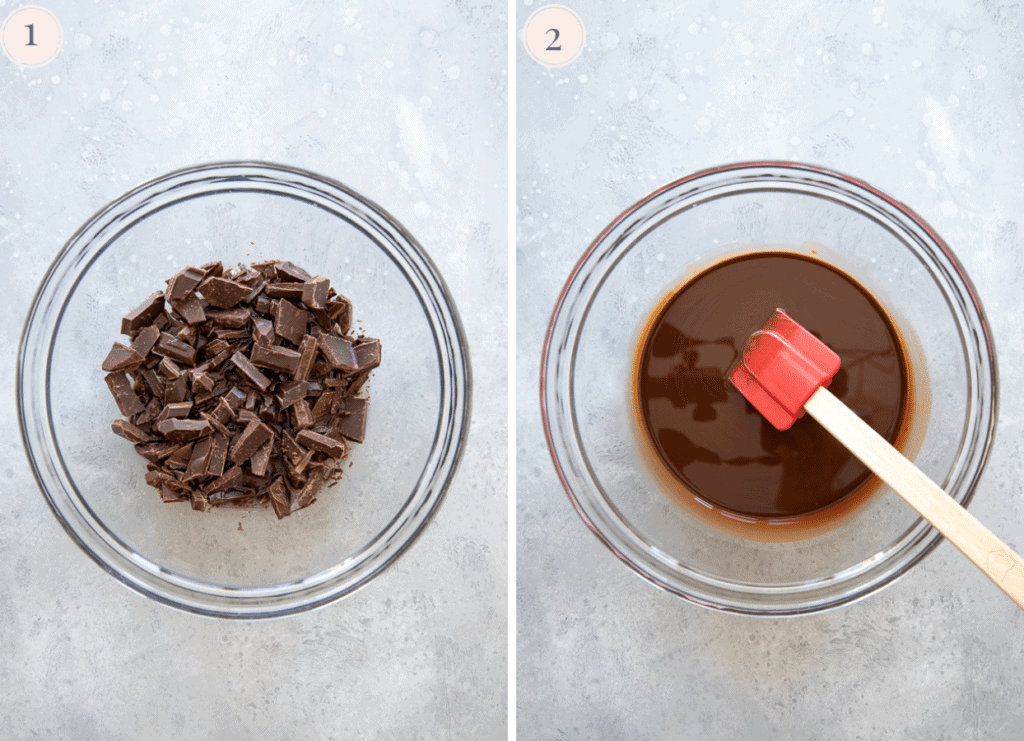 picture collage showing coarsely chopped chocolate being melted in the microwave to make a molten chocolate lava cake recipe