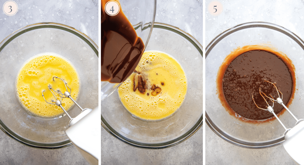 photo collage showing how to make the batter for paleo molten chocolate lava cakes