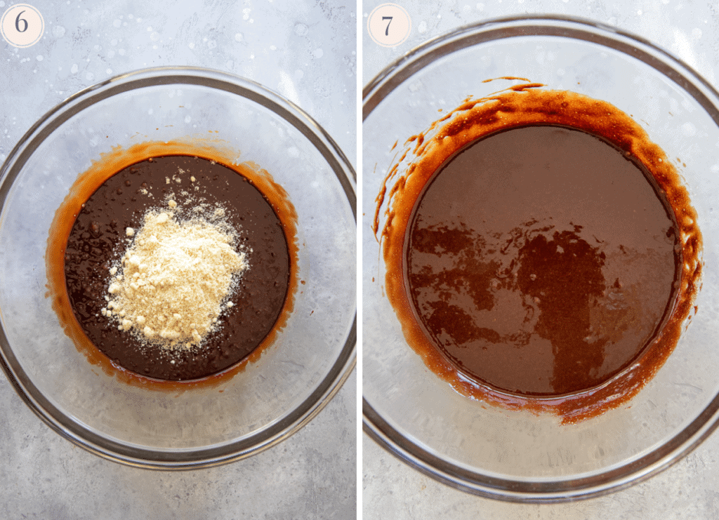 photo collage showing how to properly fold almond flour into chocolate batter to make paleo lava cakes