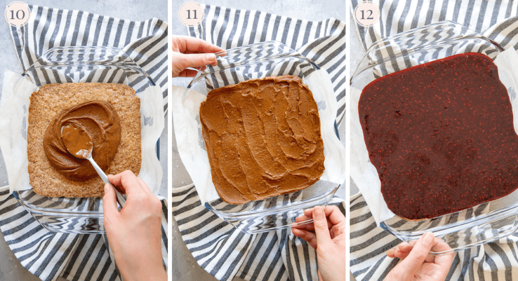 photo collage demonstrating how almond butter and raspberry jam are layered on top of paleo almond flour crust to make bars