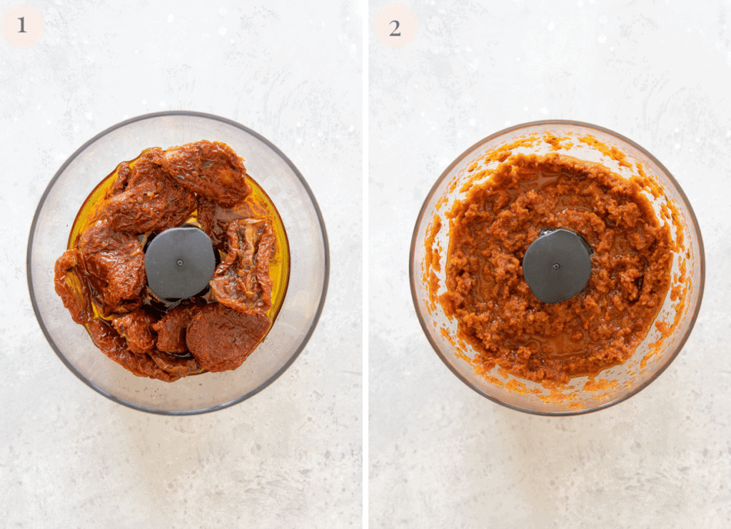 a photo collage showing how sun-dried tomatoes are being processed into a smooth sauce in a small food processor