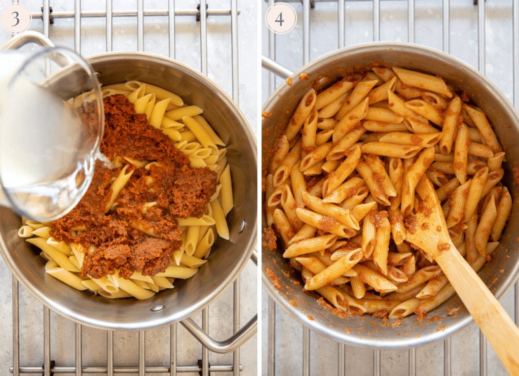 sun-dried tomato sauce and pasta water being tossed with freshly cooked penne pasta