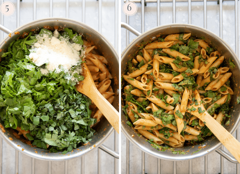 photo collage depicting baby spinach and grated parmesan being added to a pot of freshly cooked penne pasta