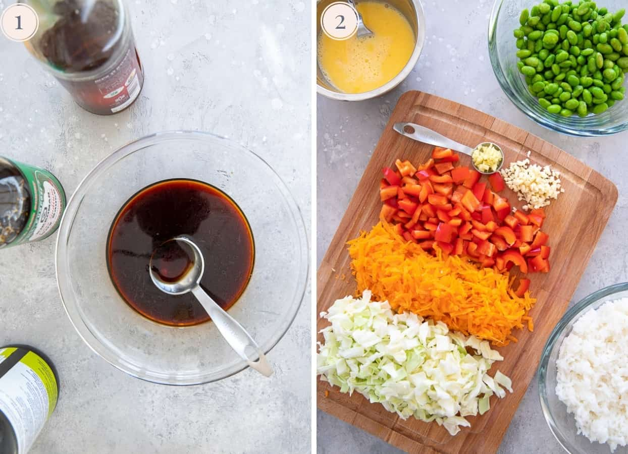 picture collage showing how to prepare ingredients for making healthy ground turkey fried rice recipe