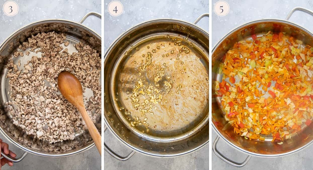 picture collage showing how to fry ground turkey for making healthy fried rice recipe