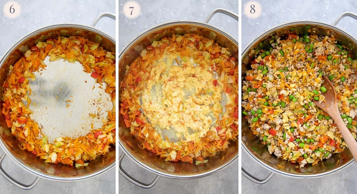 picture collage showing how to scramble egg on one side of the pot for making healthy Asian fried rice