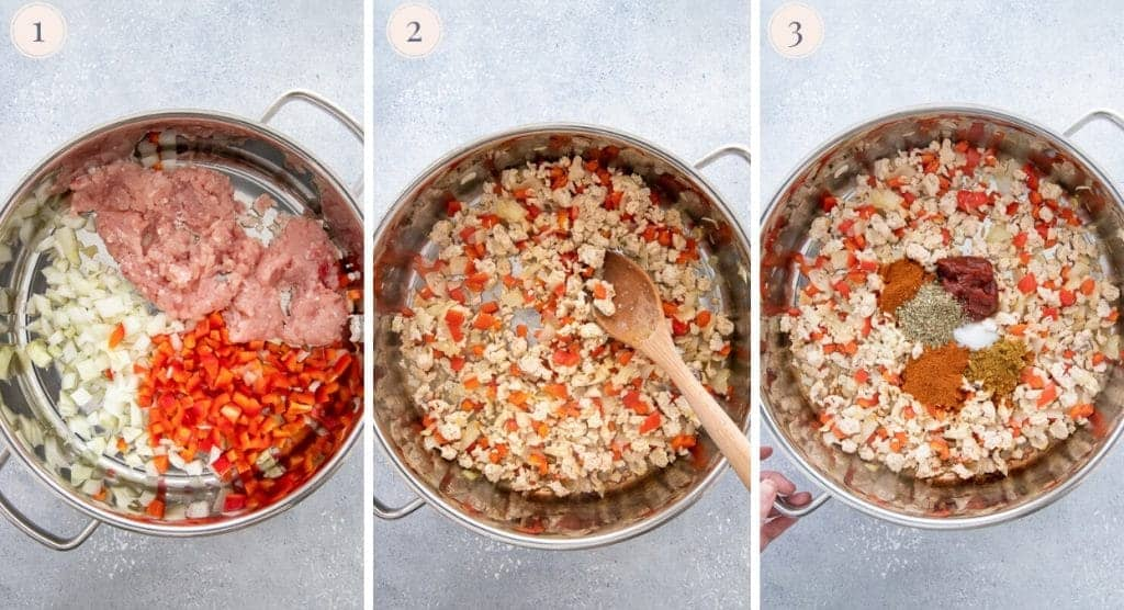 picture collage demonstrating how to sautee ground turkey with onions, bell pepper, tomato paste and spiced for making one-pot taco pasta recipe