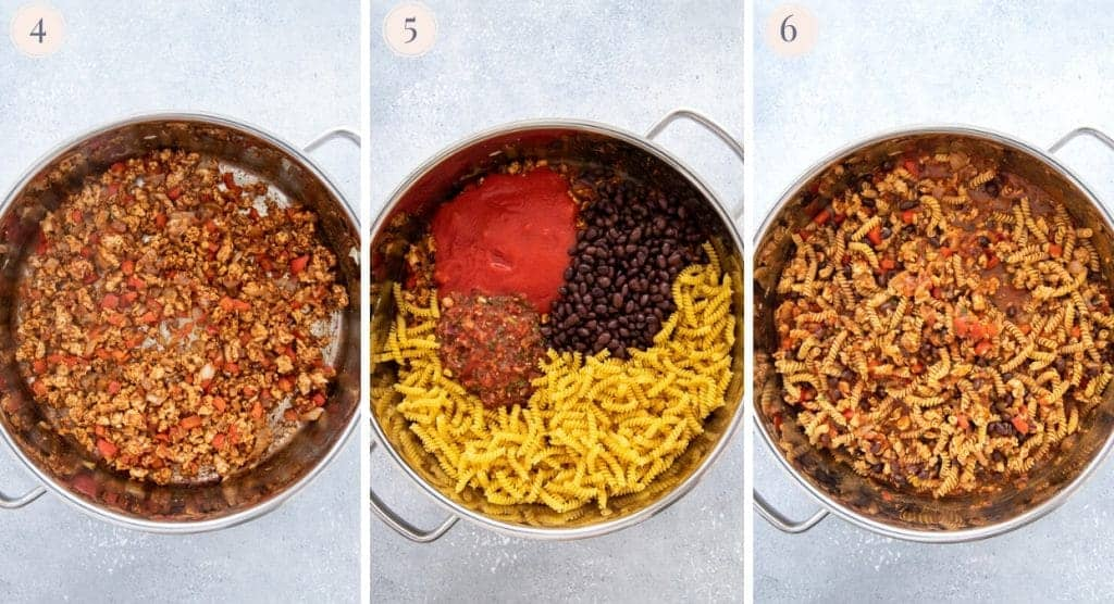 a picture collage demonstrating how to make one-pot taco pasta recipe with ground turkey