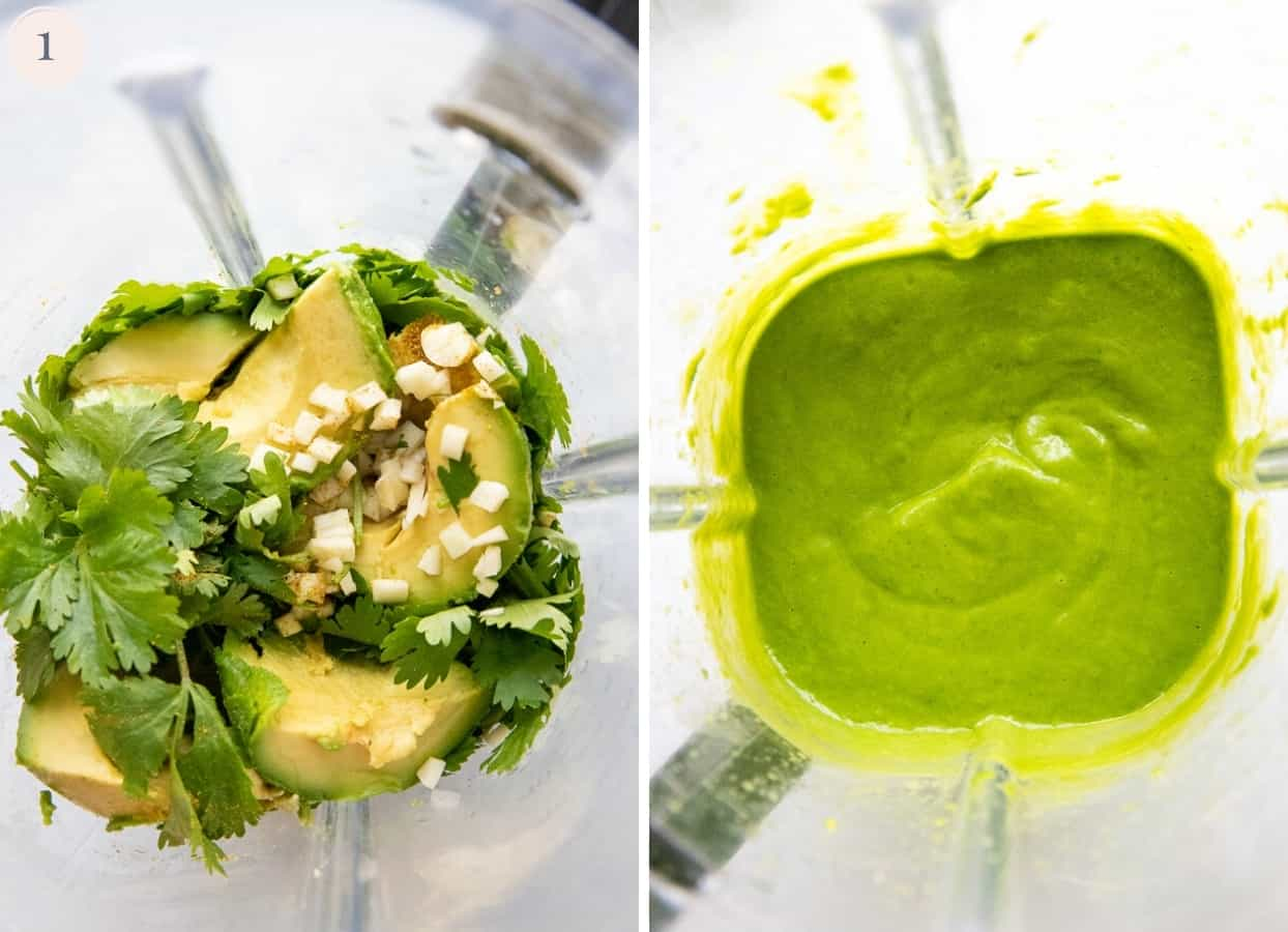 picture collage demonstrating how to make creamy cilantro lime avocado sauce to serve with fajitas