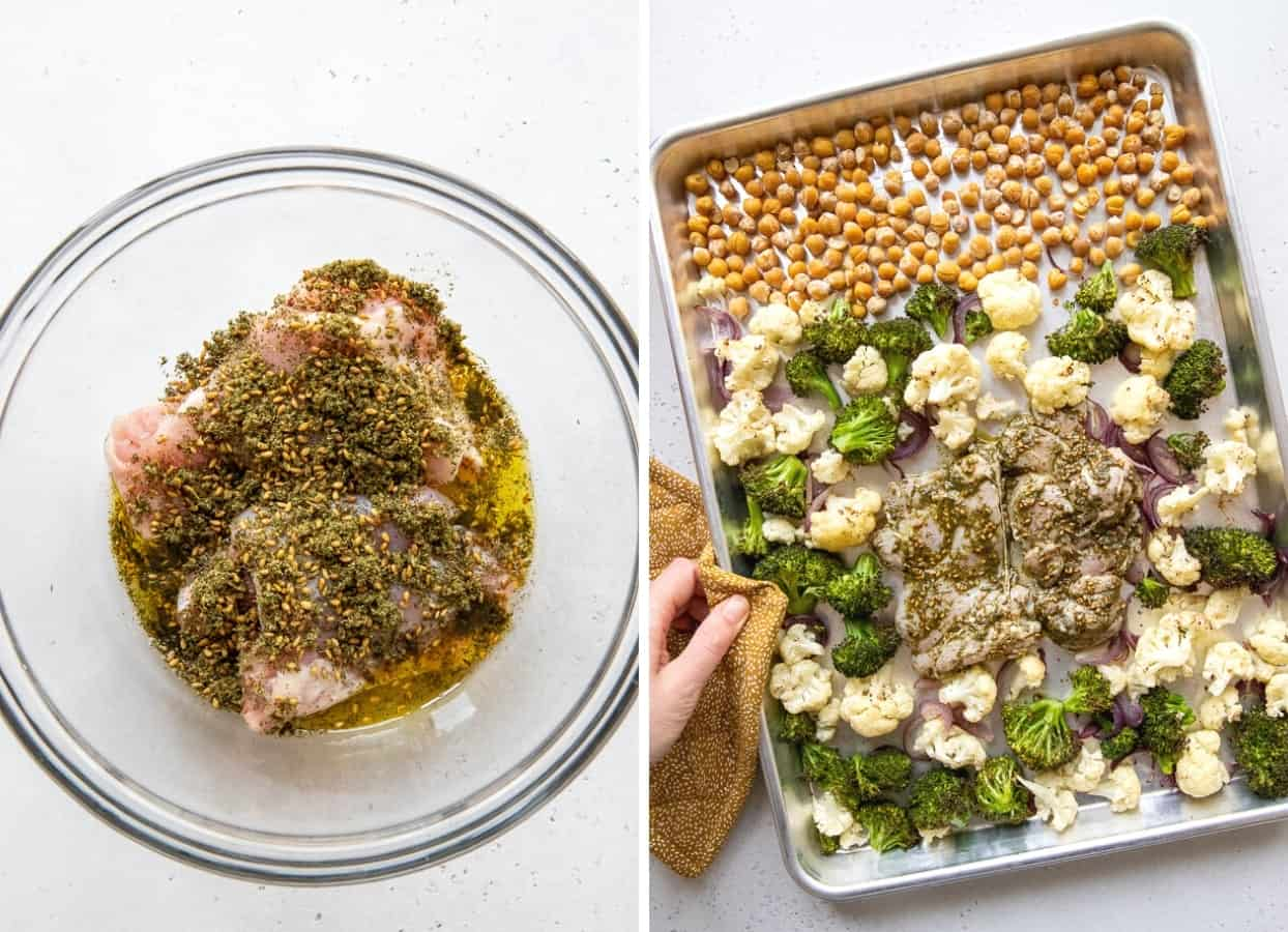 a picture collage showing how to marinate chicken with za'atar and olive oil and how to arrange ingredients for chicken sheet pan dinner on a baking pan