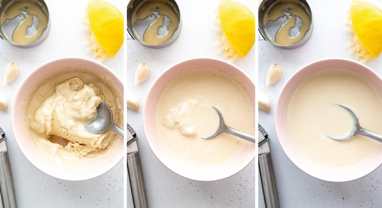 picture collage showing how to add water to tahini sauce to reach the perfect consistency