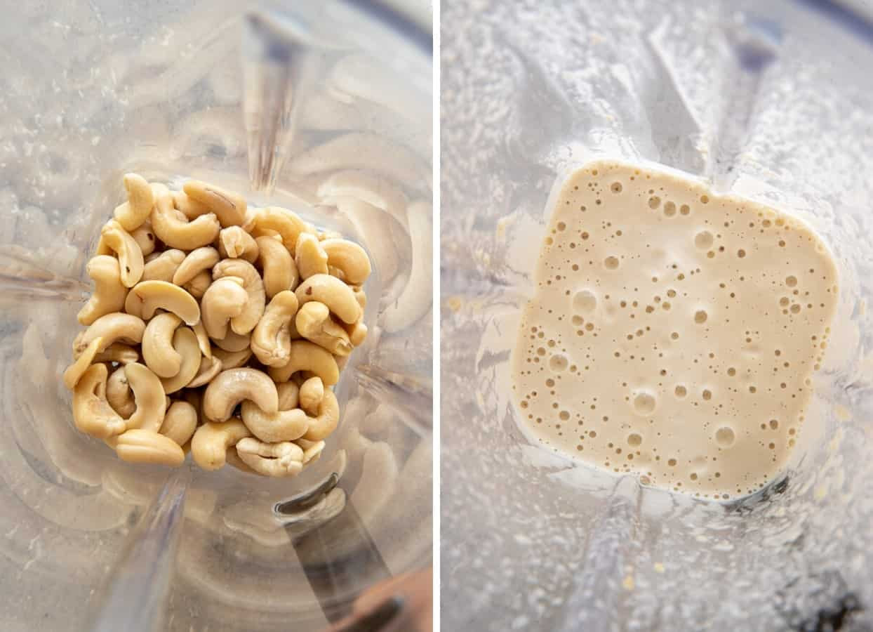 picture collage depicting how to blend soaked raw cashew nuts in a blender to make cashew cream