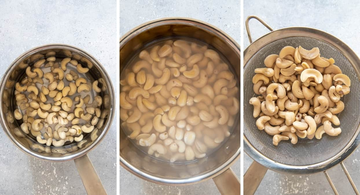 picture collage demonstrating how to soak and drain cashew nuts for making vegan cashew cream