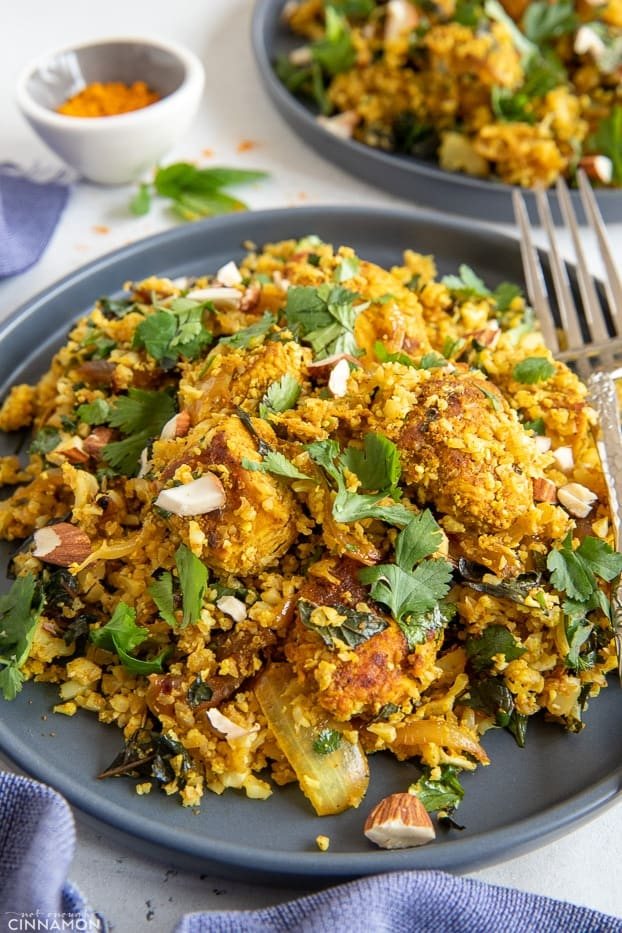 side view close-up of a plate of Indian cauliflower rice stir fry chicken biryani style