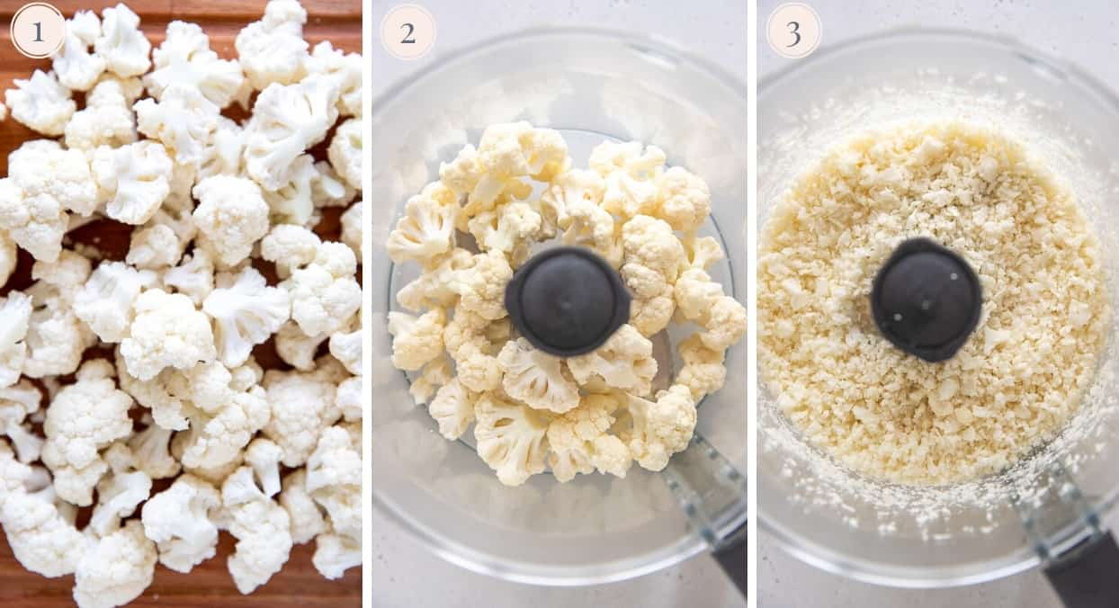 picture collage demonstrating how to make rice from cauliflower in a food processor