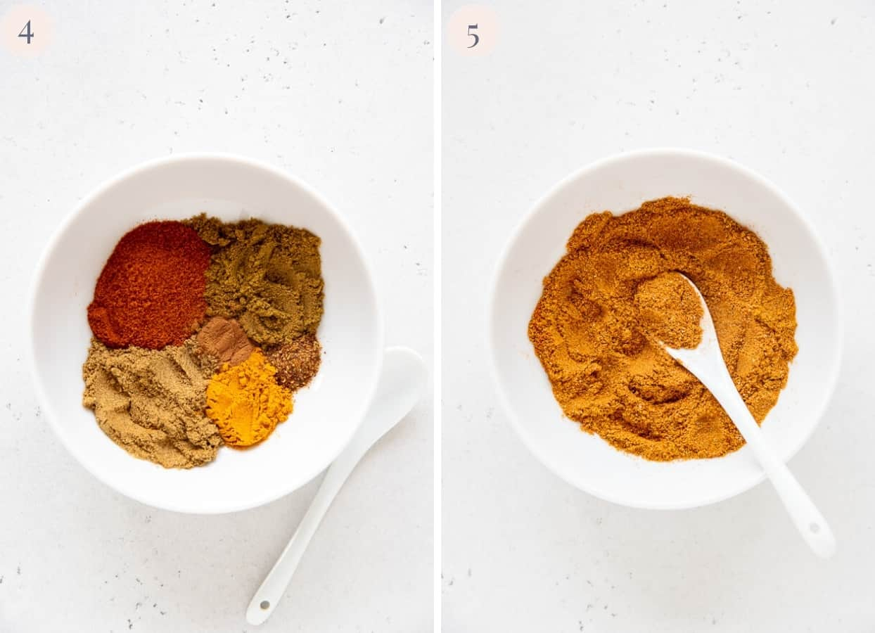 picture collage demonstrating how to mix ground spices to make biryani spice blend at home