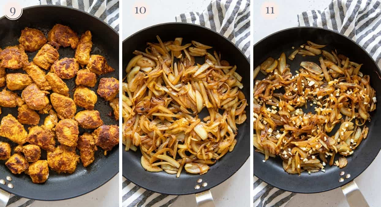 picture collage demonstrating how to fry chicken, onion and garlic in a skillet for making paleo chicken biryani recipe