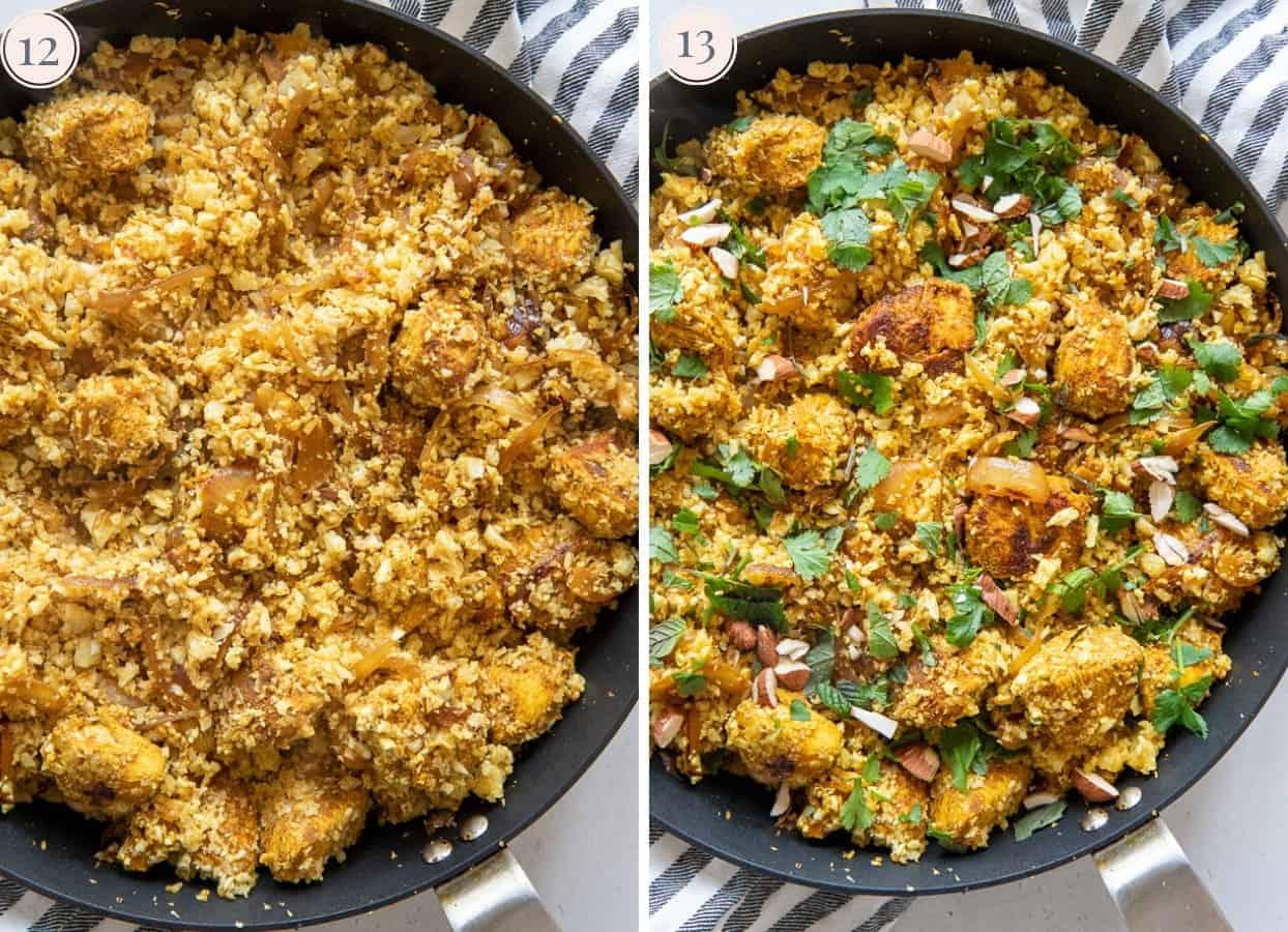 picture collage demonstrating how to make cauliflower rice chicken biryani in a skillet