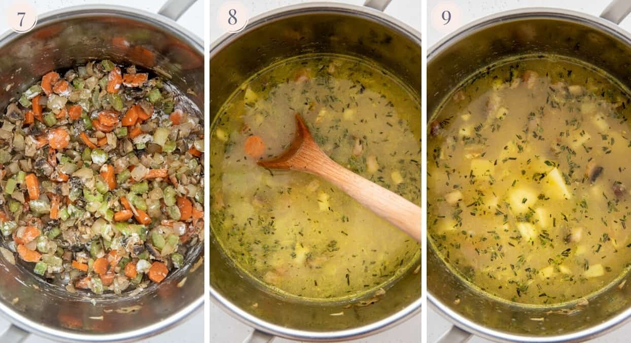 picture collage demonstrating how chicken broth and potatoes are being added to healthy chicken pot pie soup