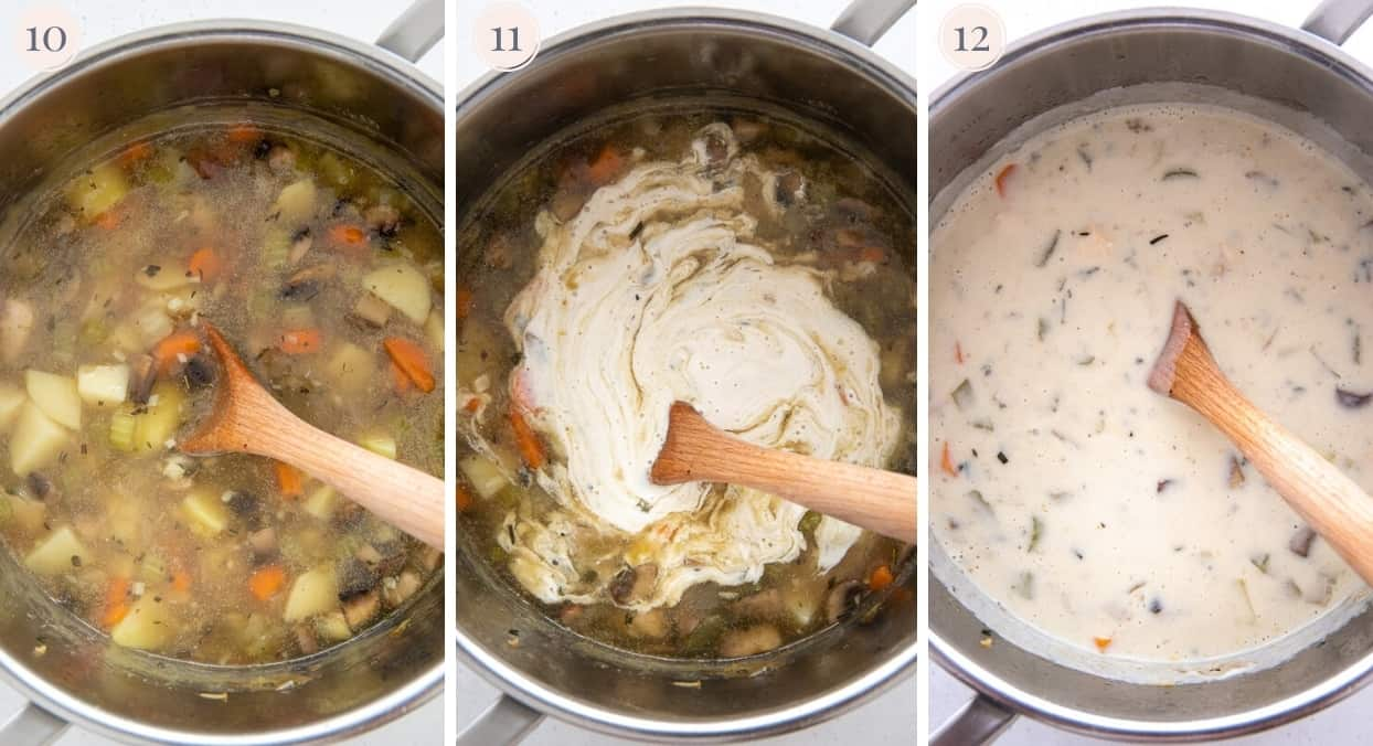 picture collage demonstrating how to stir dairy-free cashew cream into paleo chicken pot pie soup