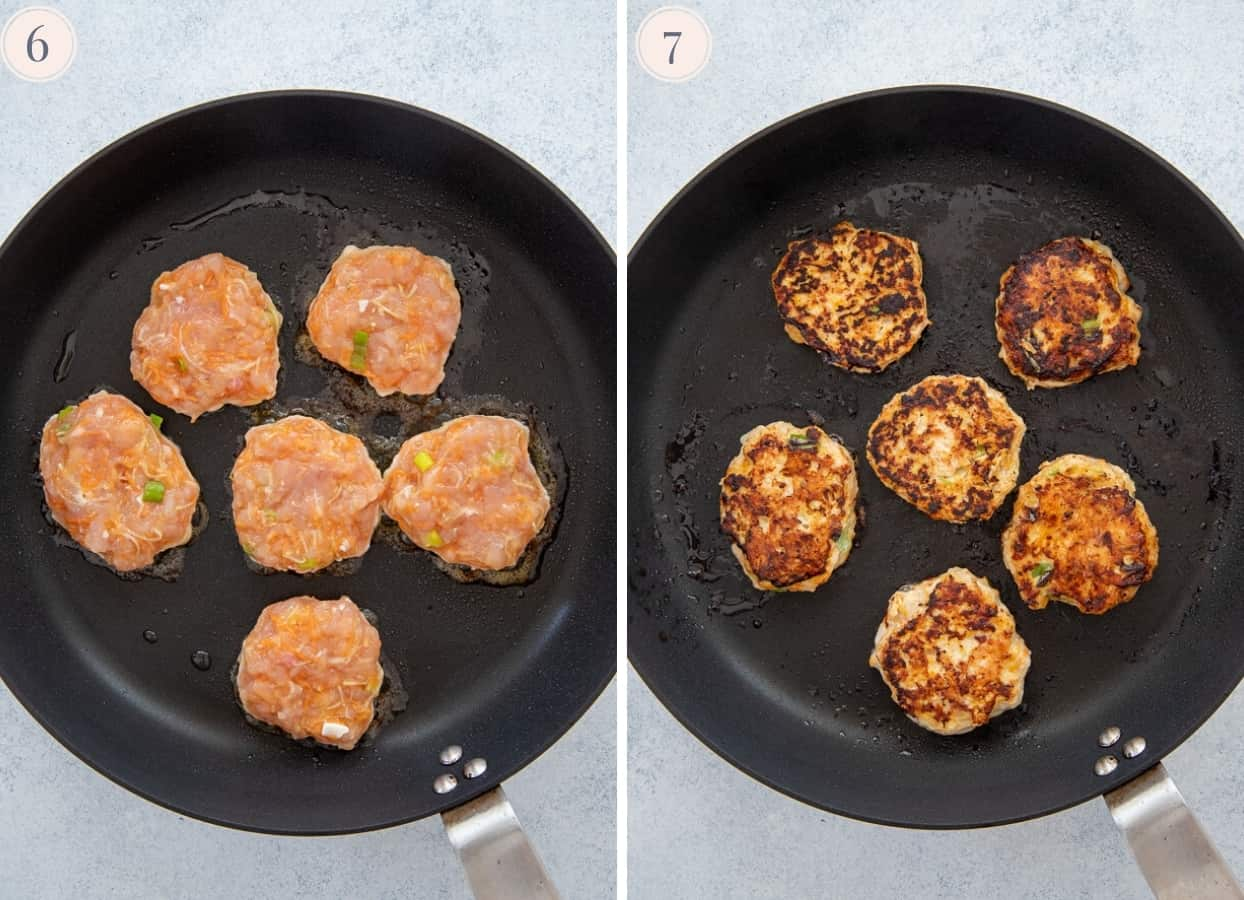 picture collage showing how to fry chicken patties in a pan to make burger bowl recipe