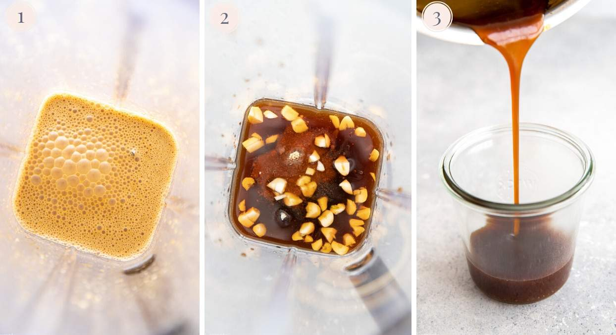 a picture collage showing how to make Whole30 teriyaki sauce in a blender
