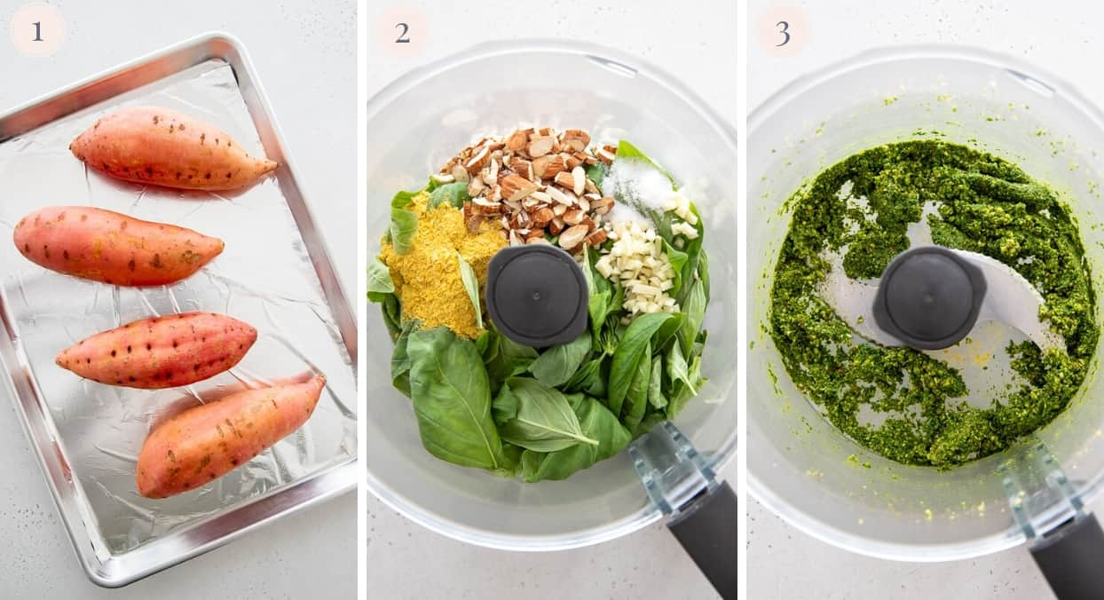 picture collage demonstrating how to make sweet potatoes and make dairy-free pesto in a food processor