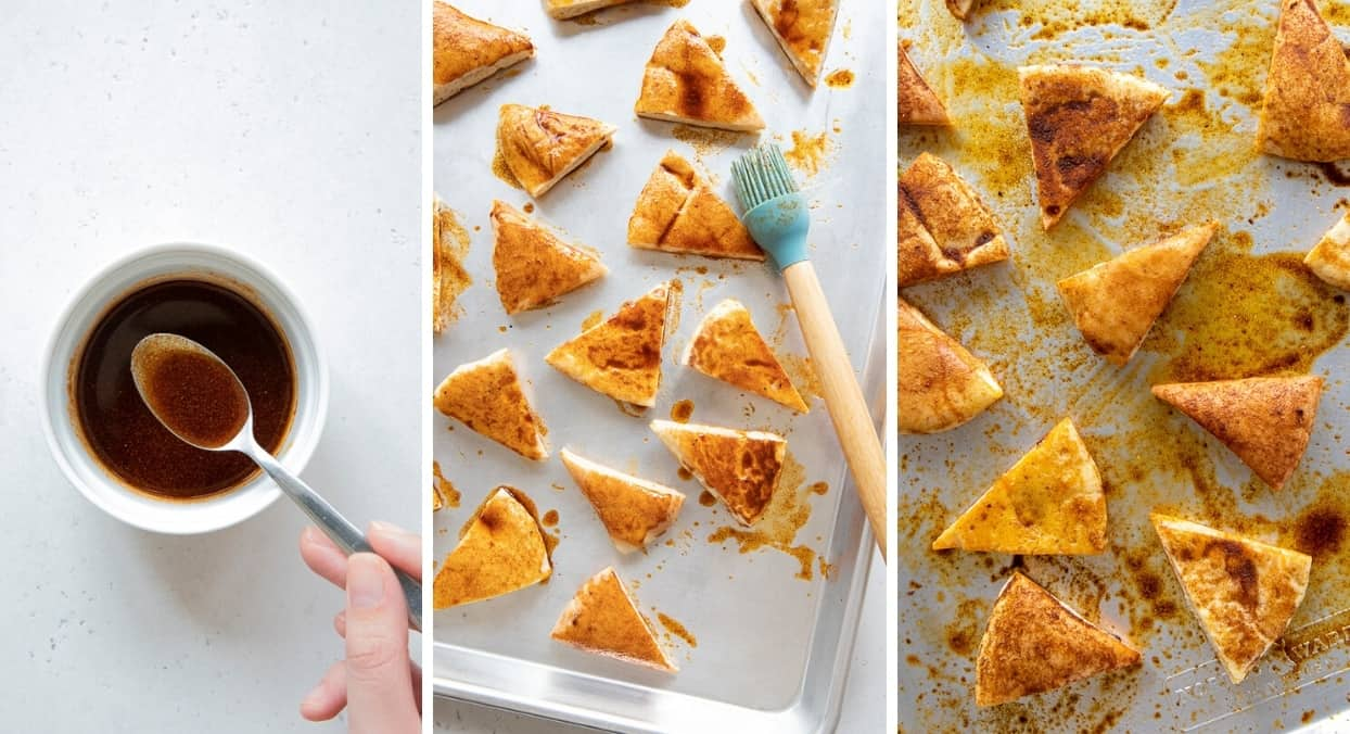 collage showing how to brush pita bread wedges with spiced oil to make spicy baked Stacy's Pita Chips