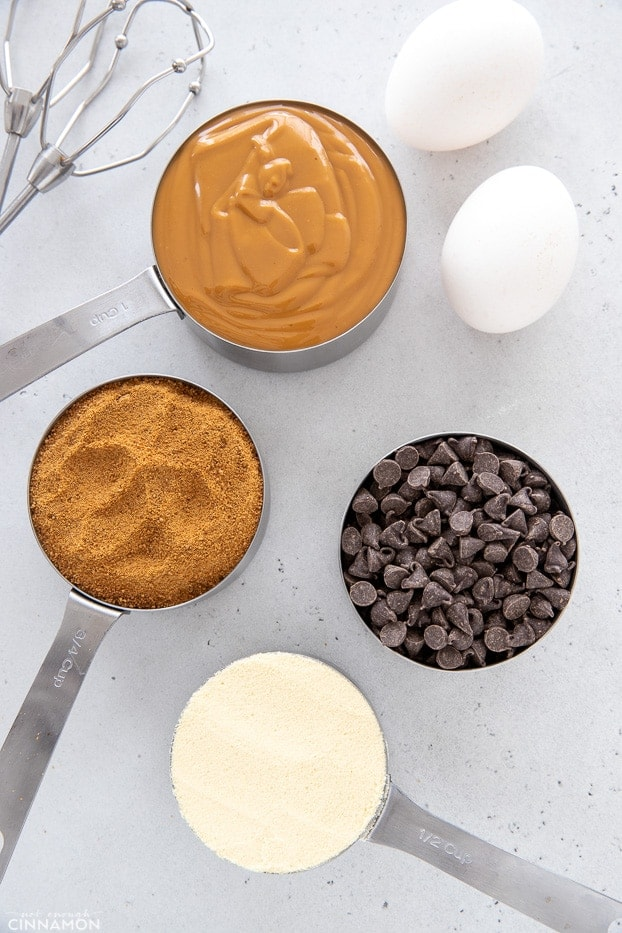 overhead shot of ingredients needed to make protein cookies