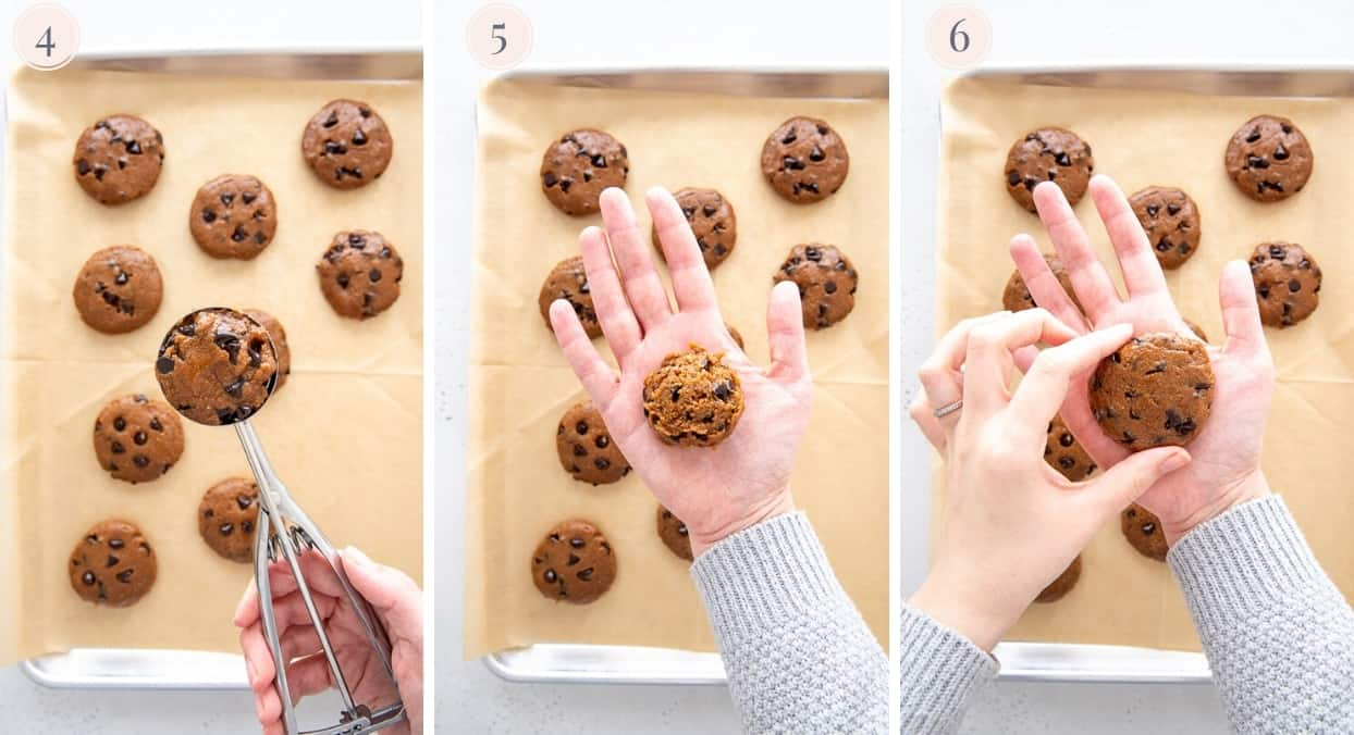 picture collage showing how to form chocolate chips protein cookies