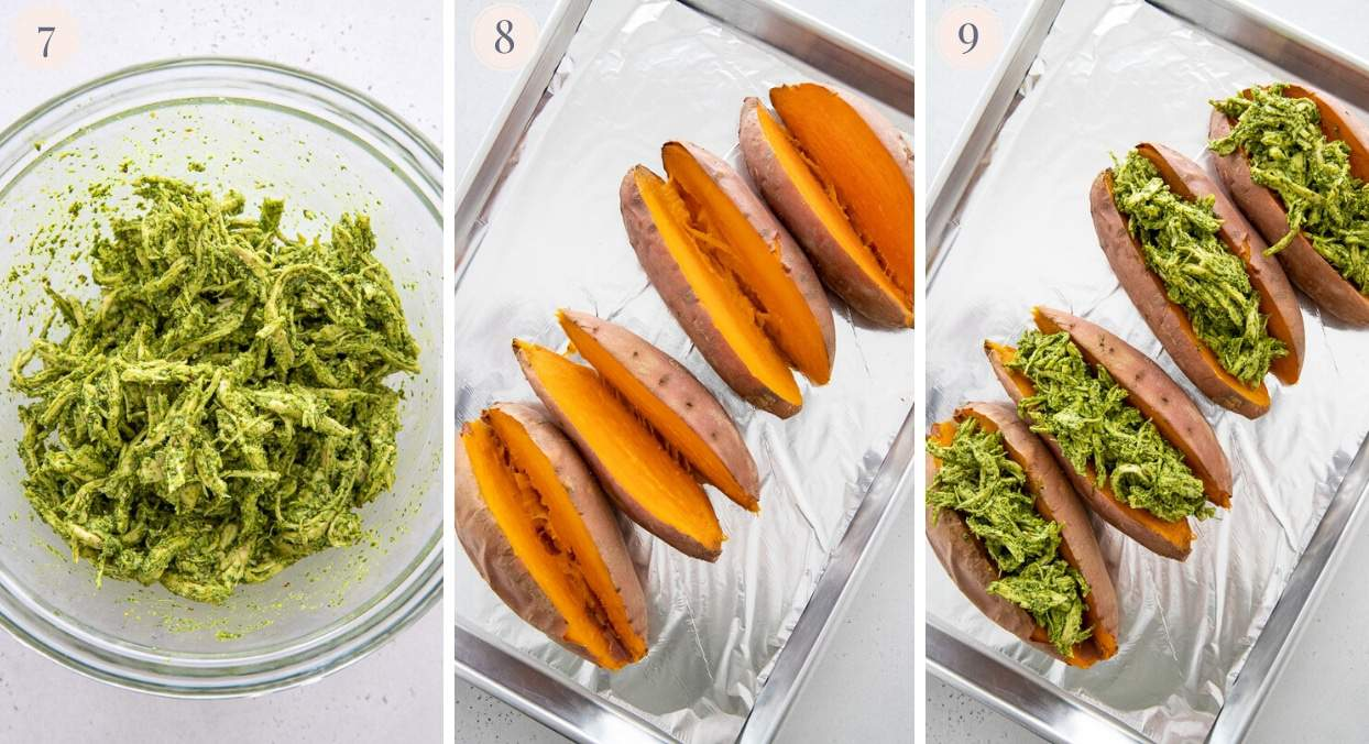 picture collage demonstrating how to stuff baked sweet potatoes with pesto chicken