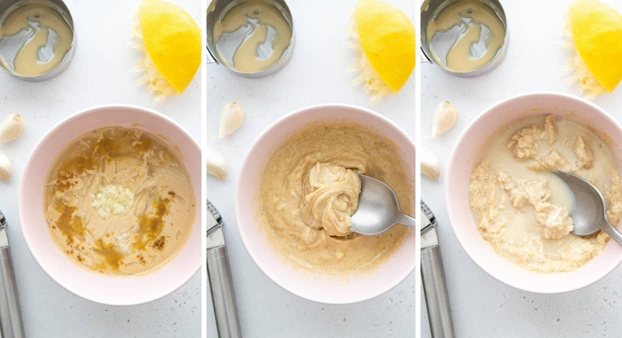 picture collage showing how to stir lemon juice and water into tahini paste to make tahini sauce