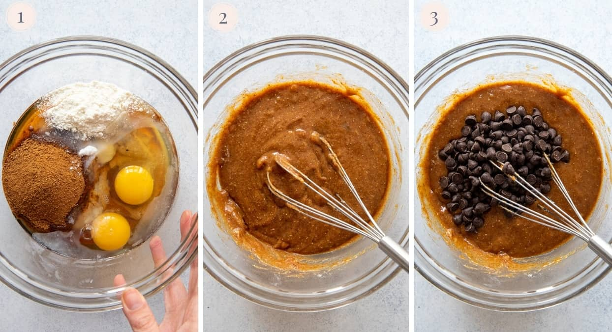 picture collage demonstrating how to mix batter for paleo almond butter blondies