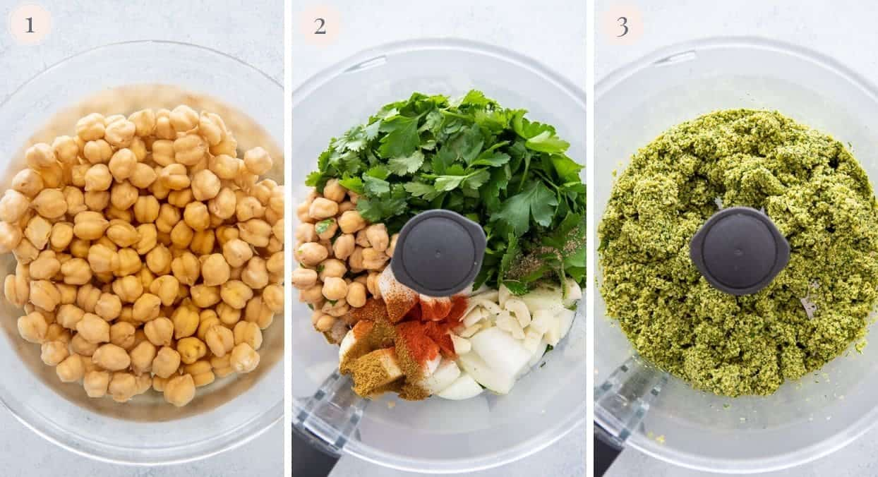 picture collage demonstrating how to make baked falafel batter in a food processor