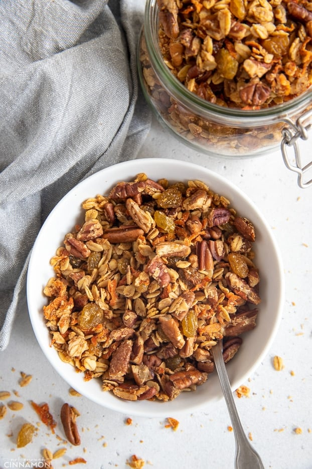 overhead shot of a bowl filled with carrot cake granola