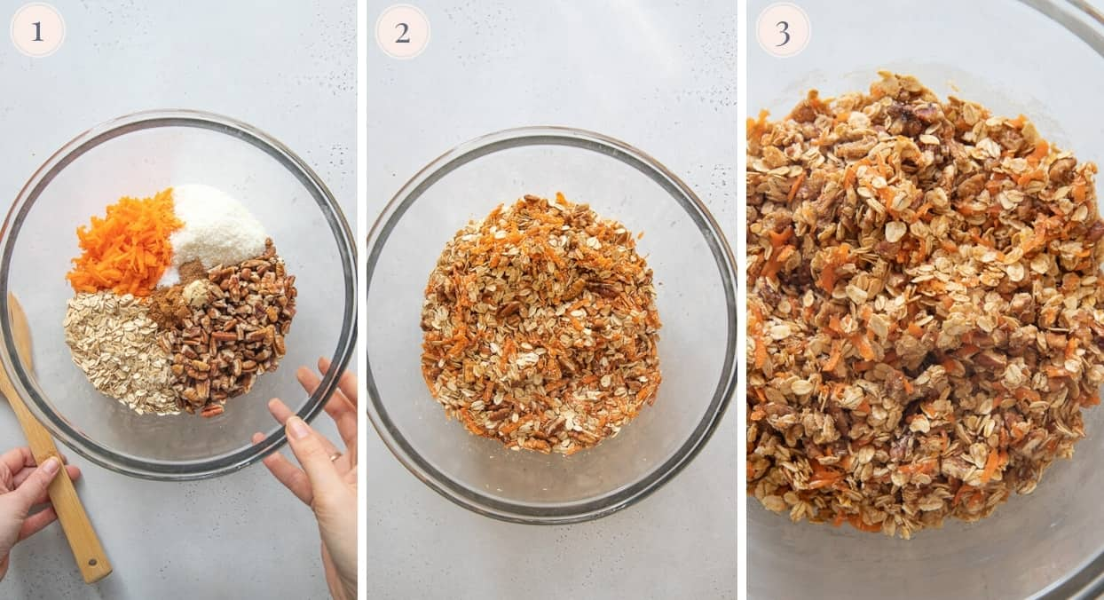 ingredients for making carrot cake granola being mixed in a glass bowl