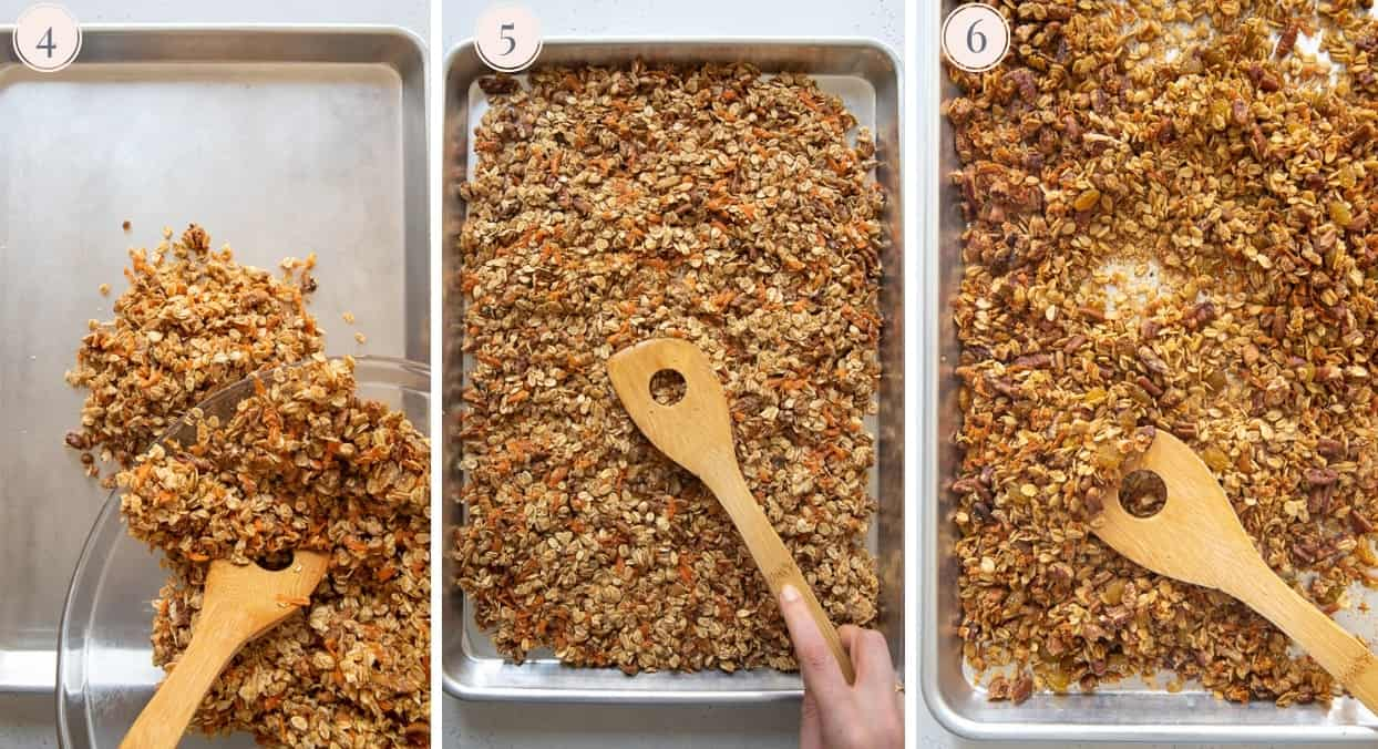 picture collage demonstrating how to bake healthy carrot cake granola on a sheet pan