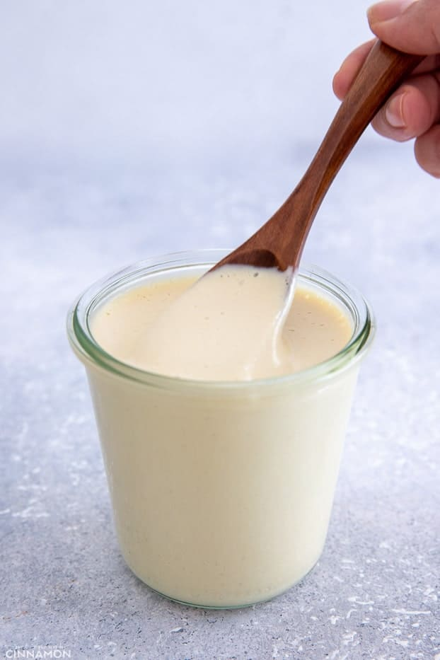 a spoon being dipped into a jar of vegan Alfredo sauce