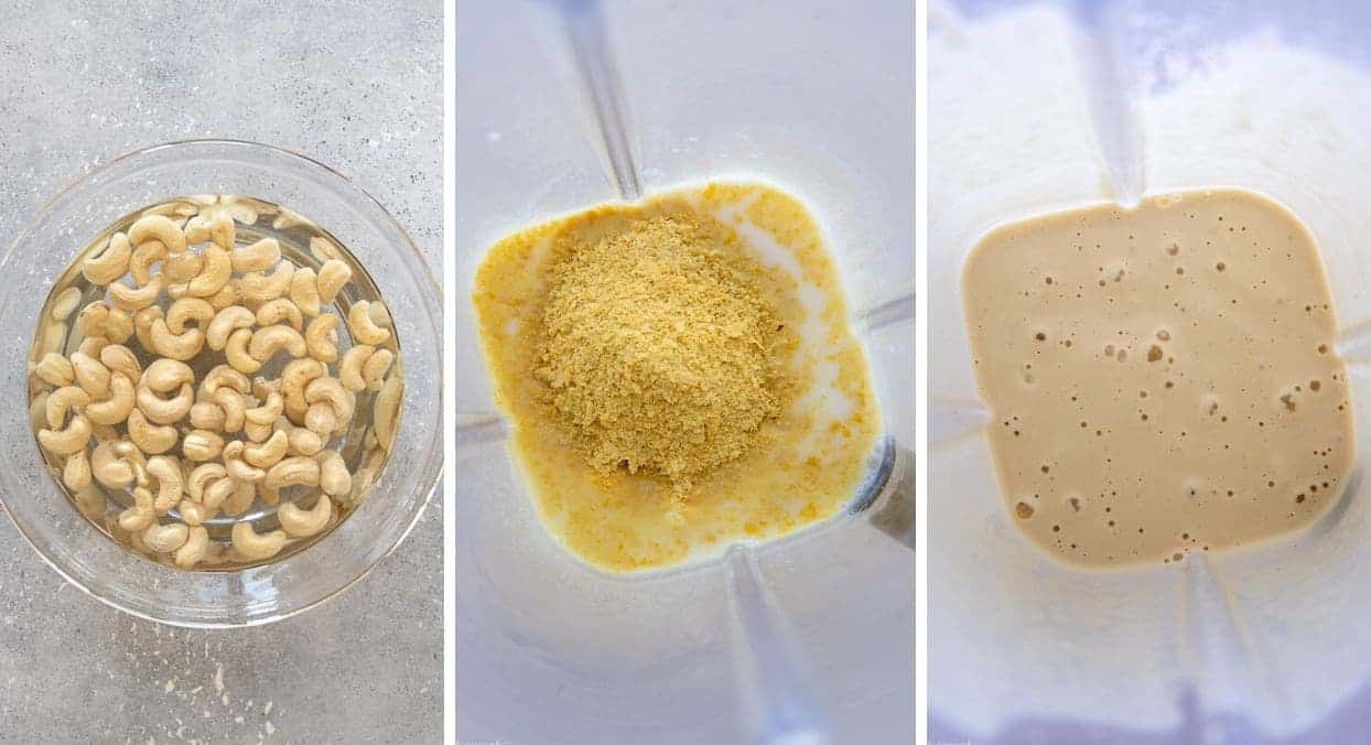 a picture collage showing how to make vegan cashew alfredo sauce in a blender