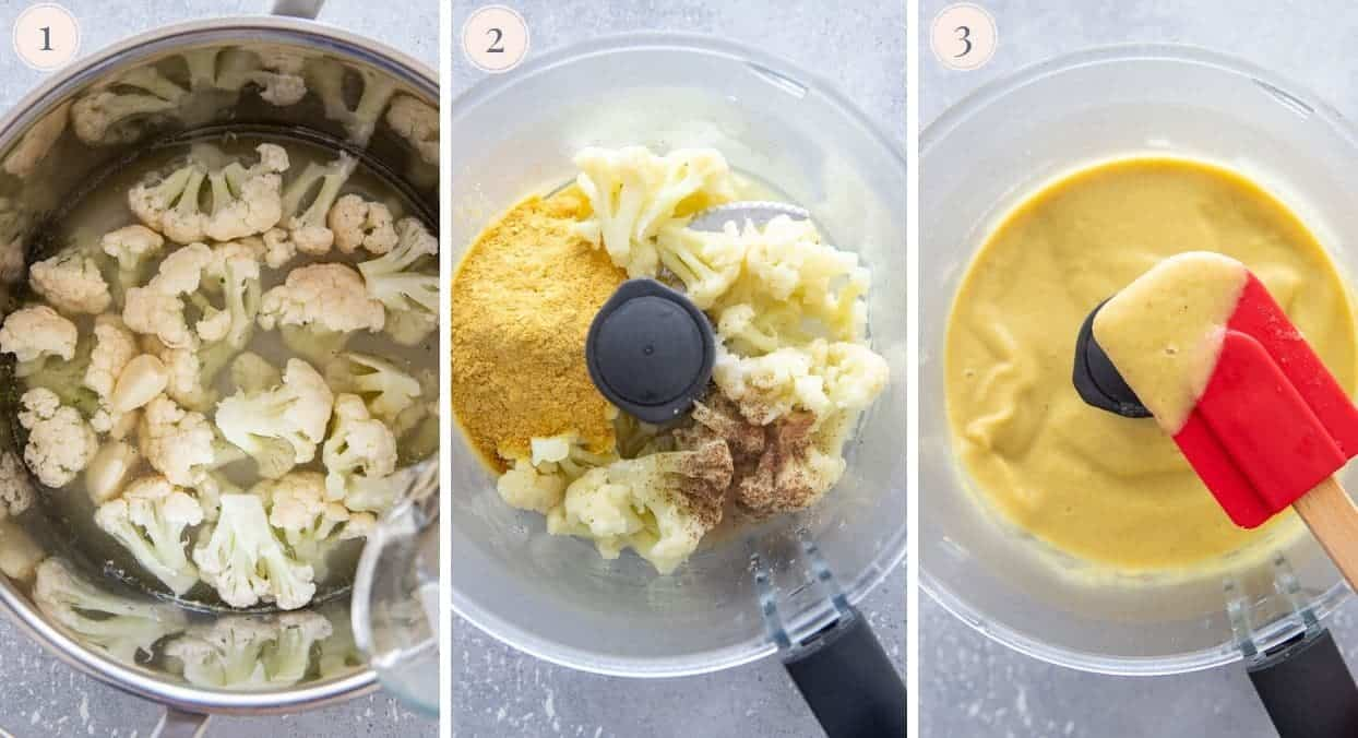 picture collage demonstrating how to make vegan cauliflower Alfredo Sauce in a blender