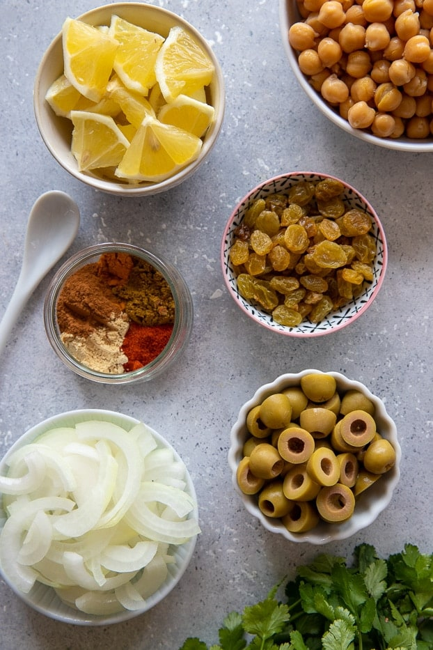 overhead shot of ingredients used for making tagine style One Pot Moroccan chicken stew