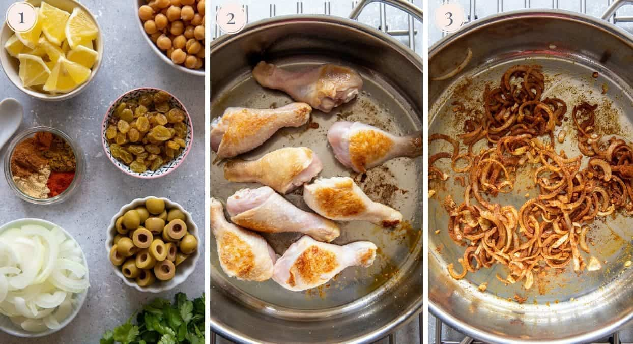 picture collage demonstrating how to fry spices, onion, and chicken drumsticks to make Moroccan chicken tagine