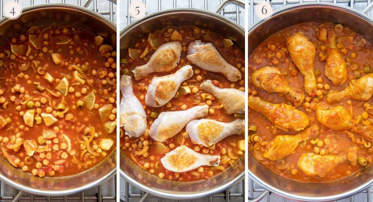 picture collage demonstrating how to make healthy one pot Moroccan chicken stew