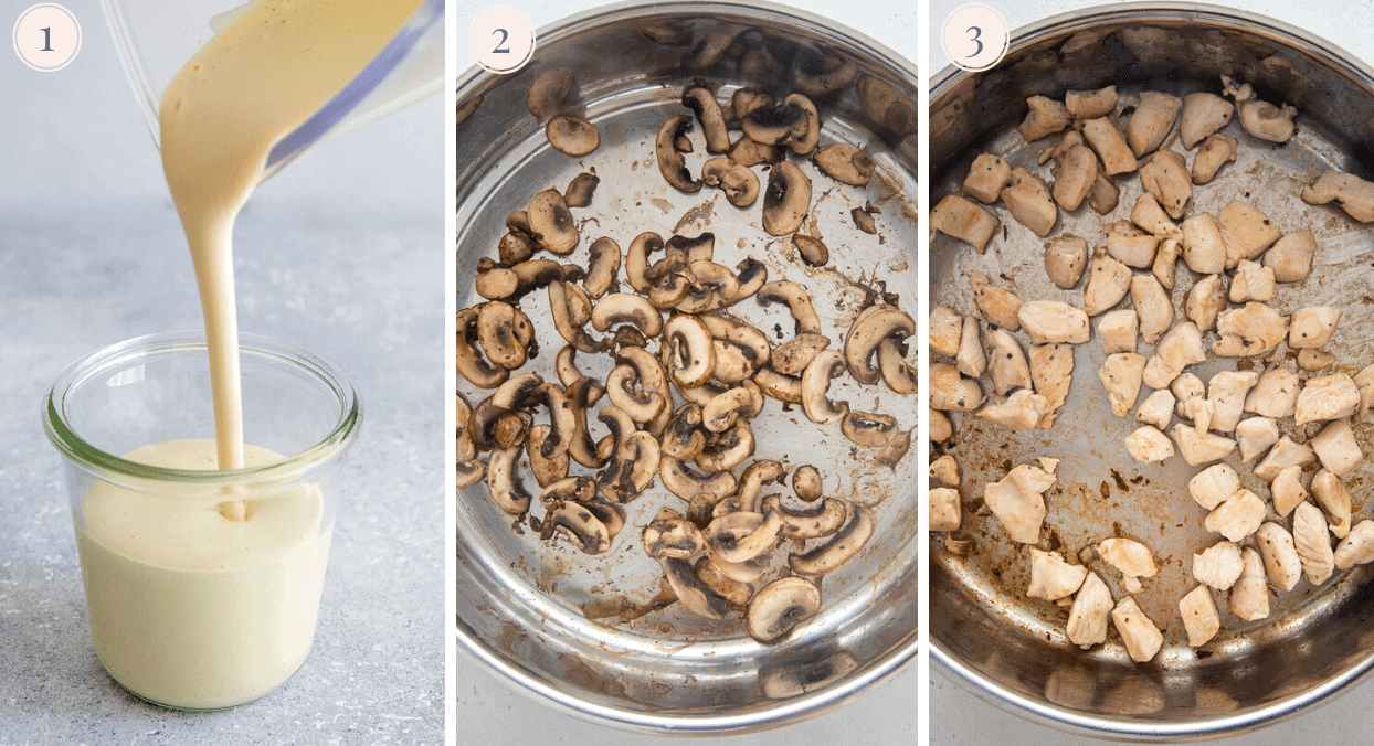 a picture collage demonstrating how to sautee mushrooms for making mushroom Alfredo